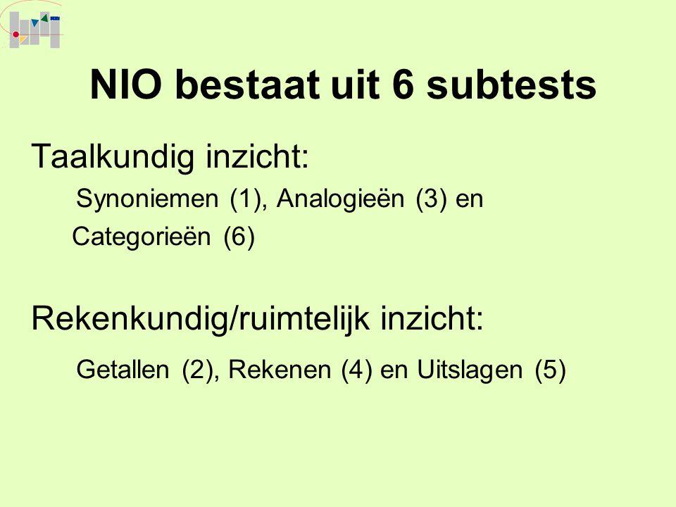 NIO bestaat uit 6 subtests