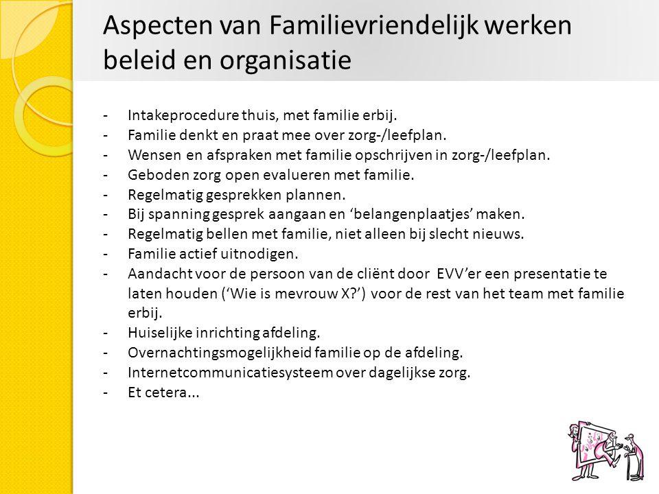 Aspecten van Familievriendelijk werken beleid en organisatie