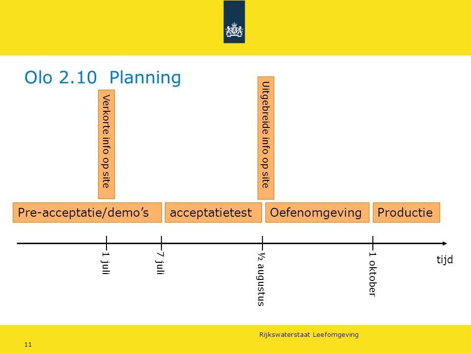 Olo 2.10 Planning Pre-acceptatie/demo's acceptatietest Oefenomgeving