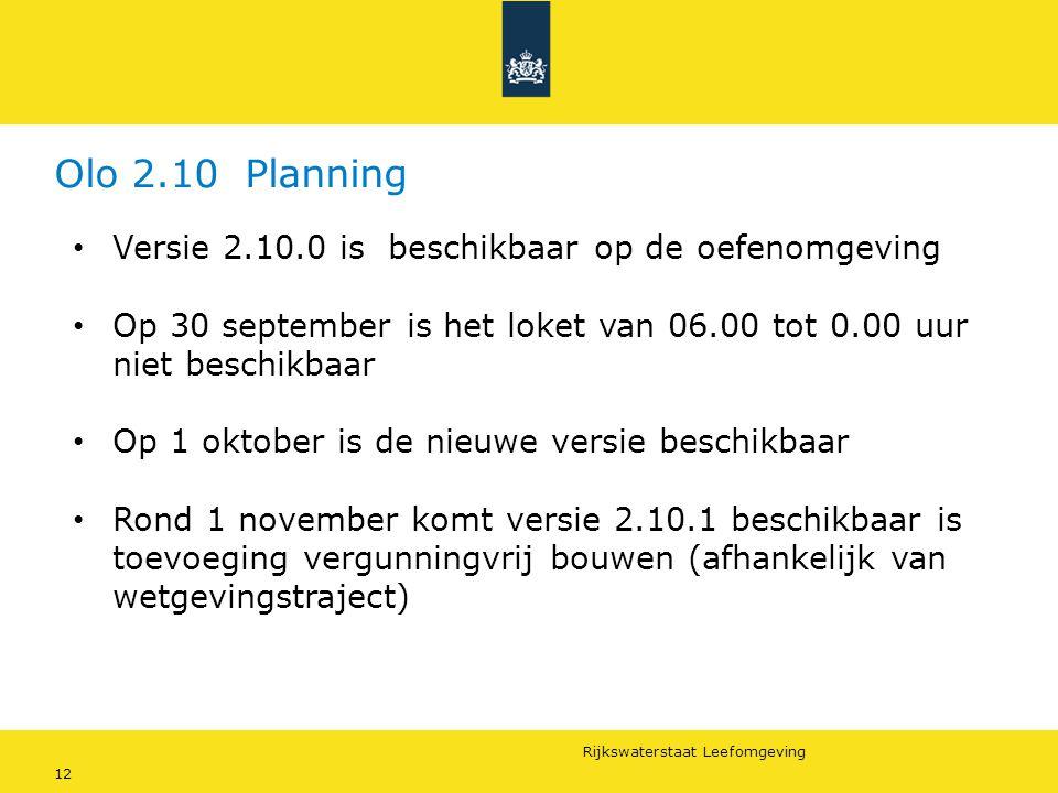 Olo 2.10 Planning Versie 2.10.0 is beschikbaar op de oefenomgeving