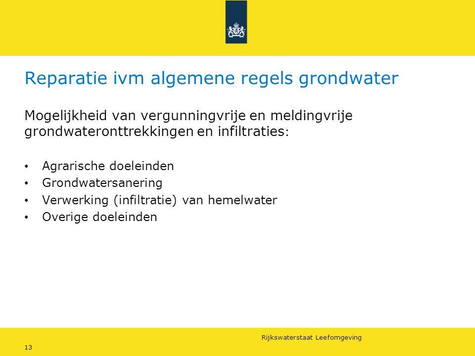 Reparatie ivm algemene regels grondwater