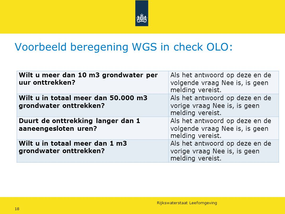 Voorbeeld beregening WGS in check OLO: