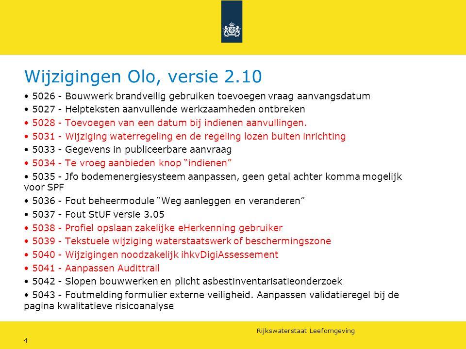 Wijzigingen Olo, versie 2.10