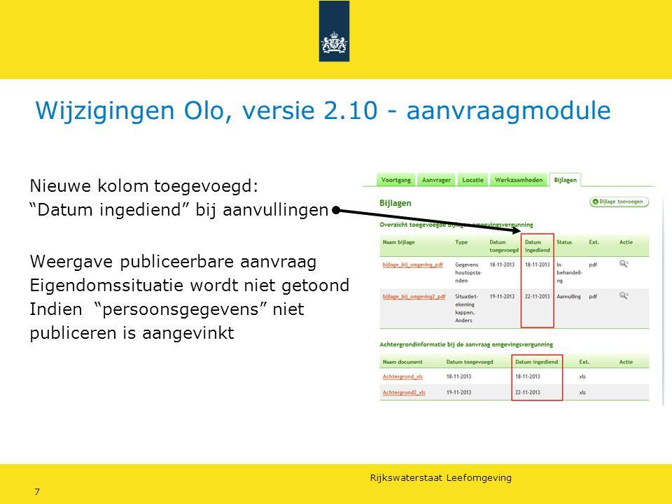Wijzigingen Olo, versie 2.10 - aanvraagmodule