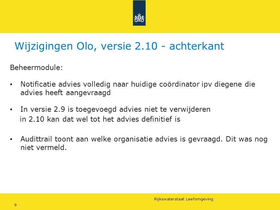 Wijzigingen Olo, versie 2.10 - achterkant