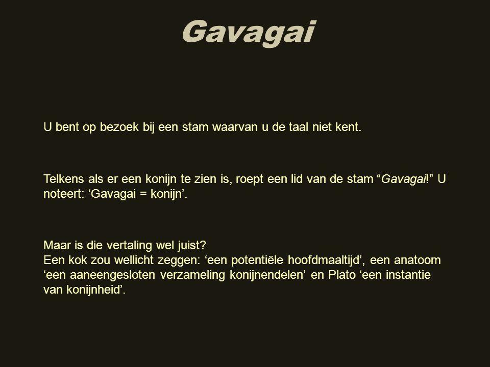 Gavagai U bent op bezoek bij een stam waarvan u de taal niet kent.