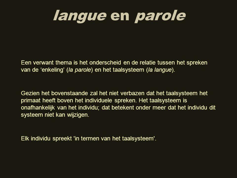 langue en parole Een verwant thema is het onderscheid en de relatie tussen het spreken van de 'enkeling' (la parole) en het taalsysteem (la langue).