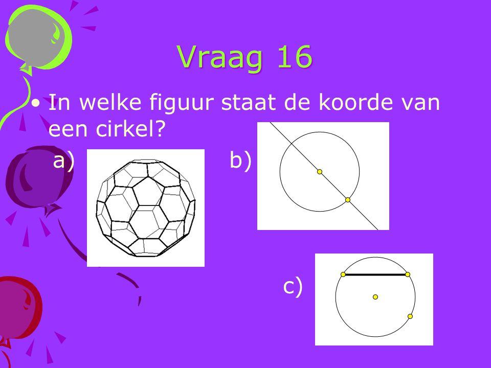 Vraag 16 In welke figuur staat de koorde van een cirkel a) b) c)