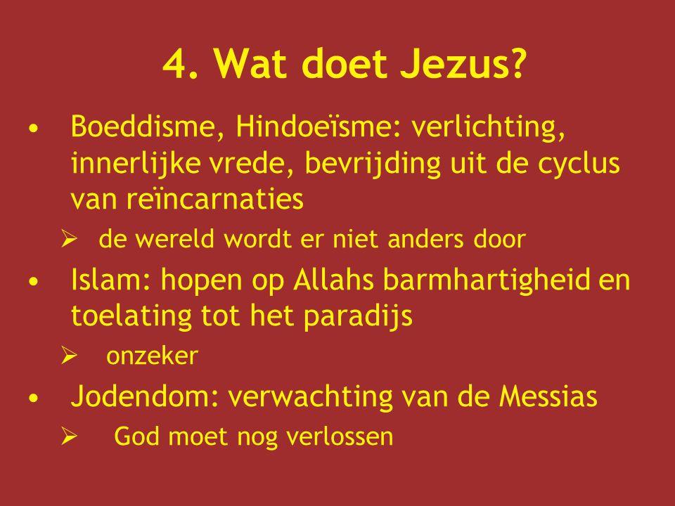 4. Wat doet Jezus Boeddisme, Hindoeïsme: verlichting, innerlijke vrede, bevrijding uit de cyclus van reïncarnaties.