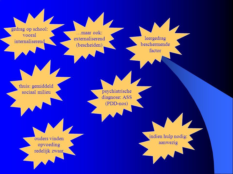 gedrag op school: vooral. internaliserend. …maar ook: externaliserend. (bescheiden) leergedrag.