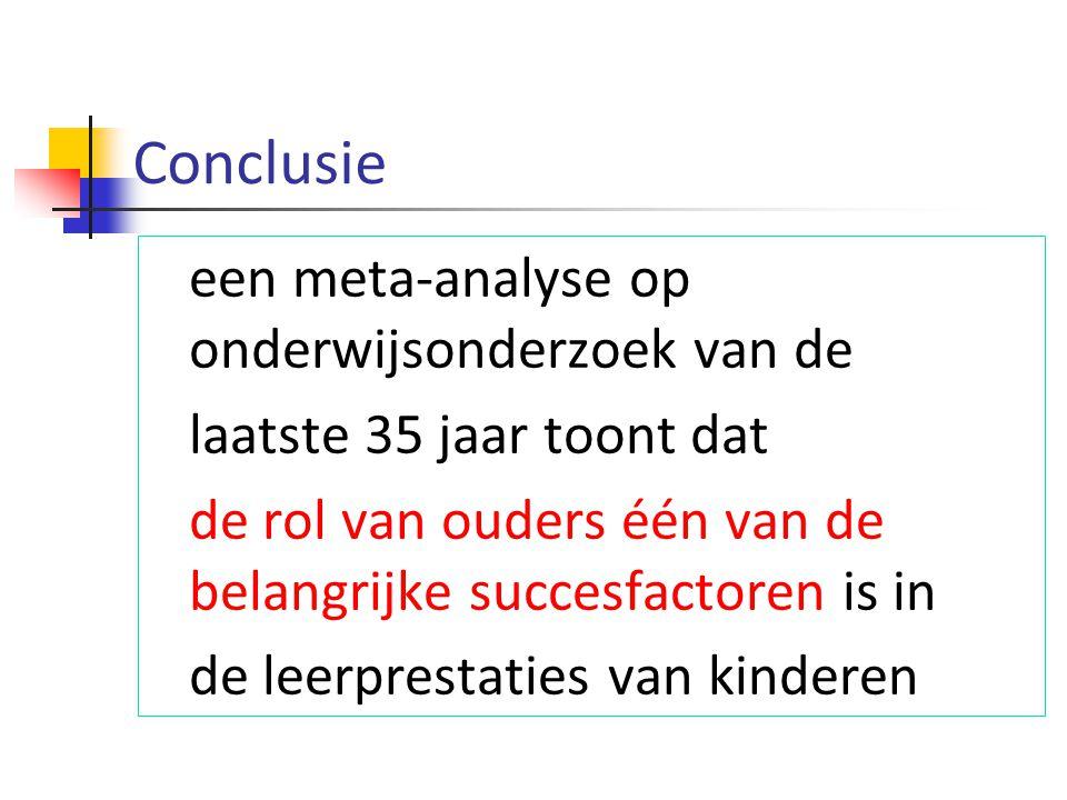 Conclusie een meta-analyse op onderwijsonderzoek van de