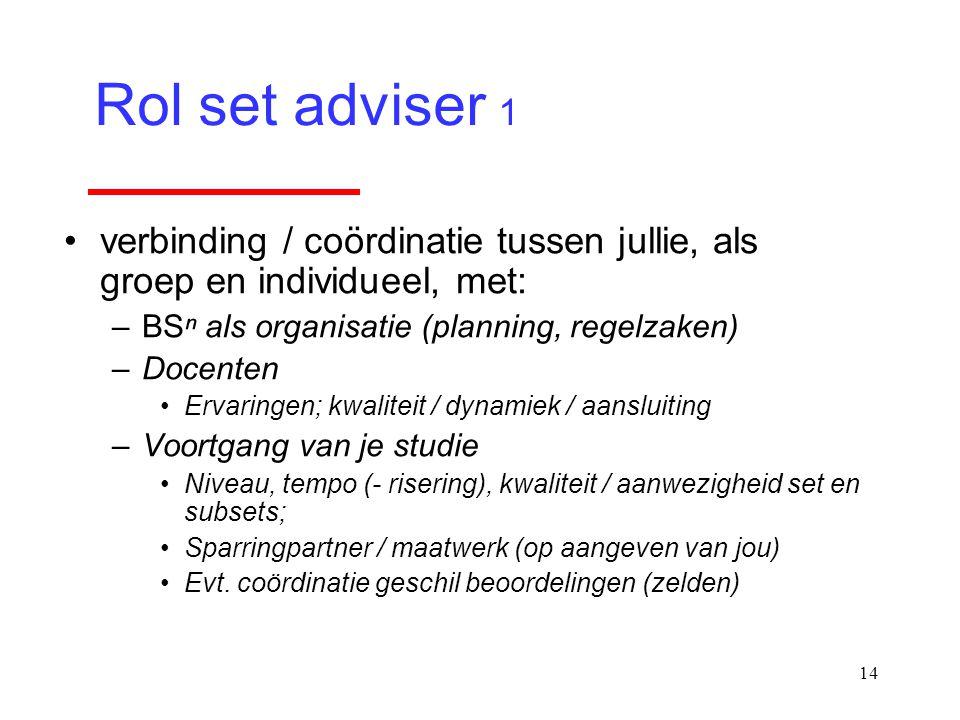 Rol set adviser 1 verbinding / coördinatie tussen jullie, als groep en individueel, met: BSⁿ als organisatie (planning, regelzaken)