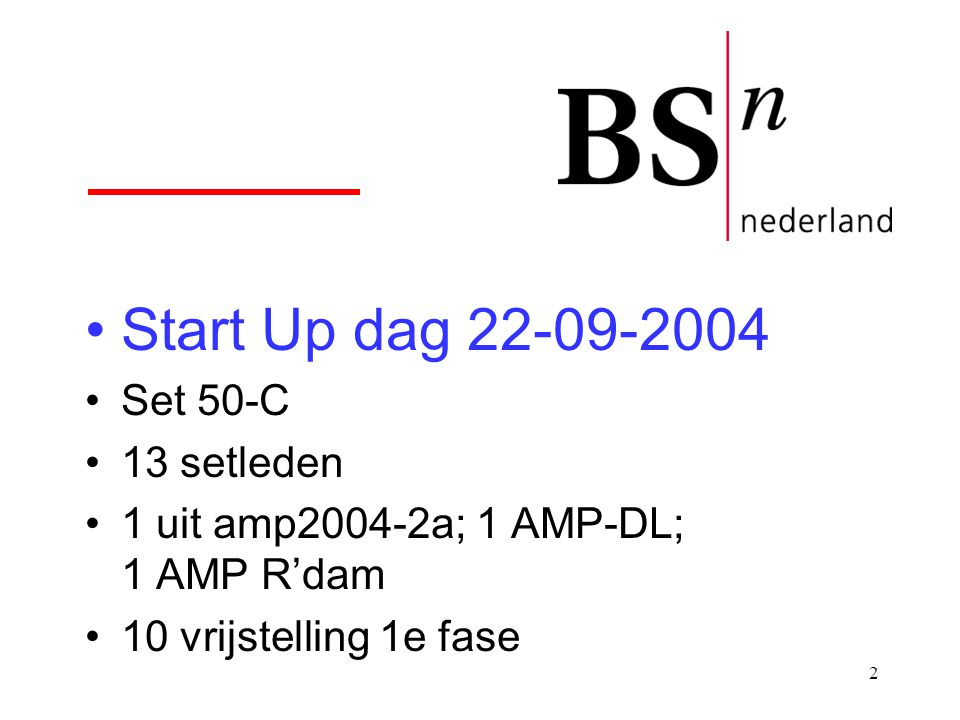 Start Up dag 22-09-2004 Set 50-C 13 setleden