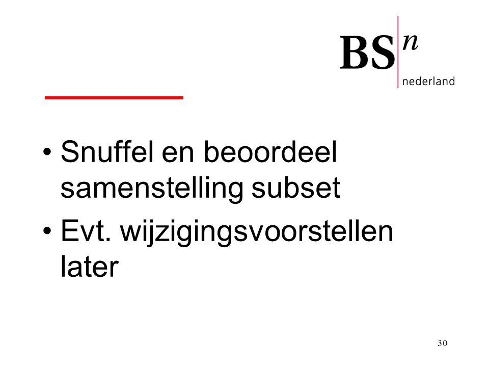 Snuffel en beoordeel samenstelling subset