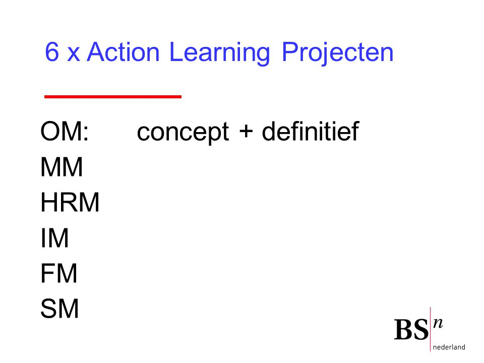 6 x Action Learning Projecten