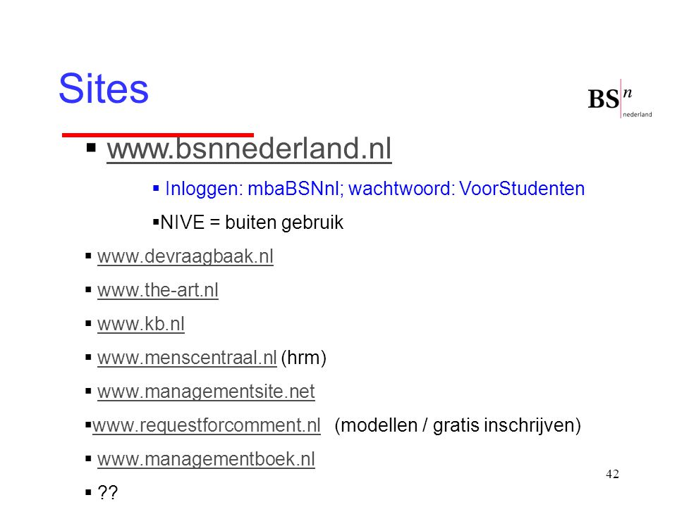 Sites www.bsnnederland.nl