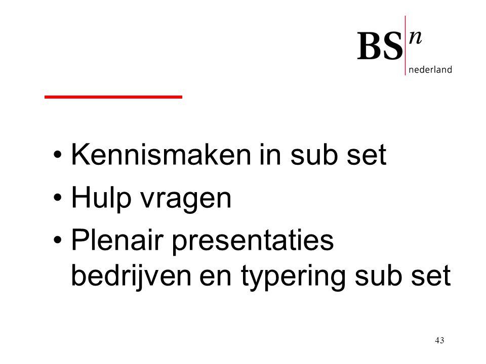 Kennismaken in sub set Hulp vragen Plenair presentaties bedrijven en typering sub set