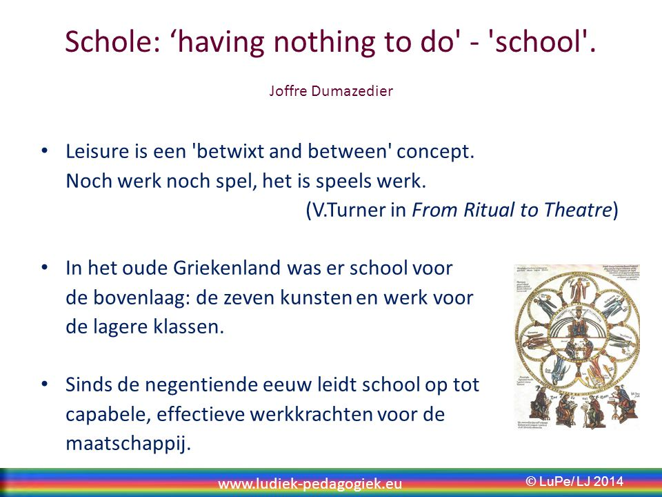 Schole: 'having nothing to do - school . Joffre Dumazedier