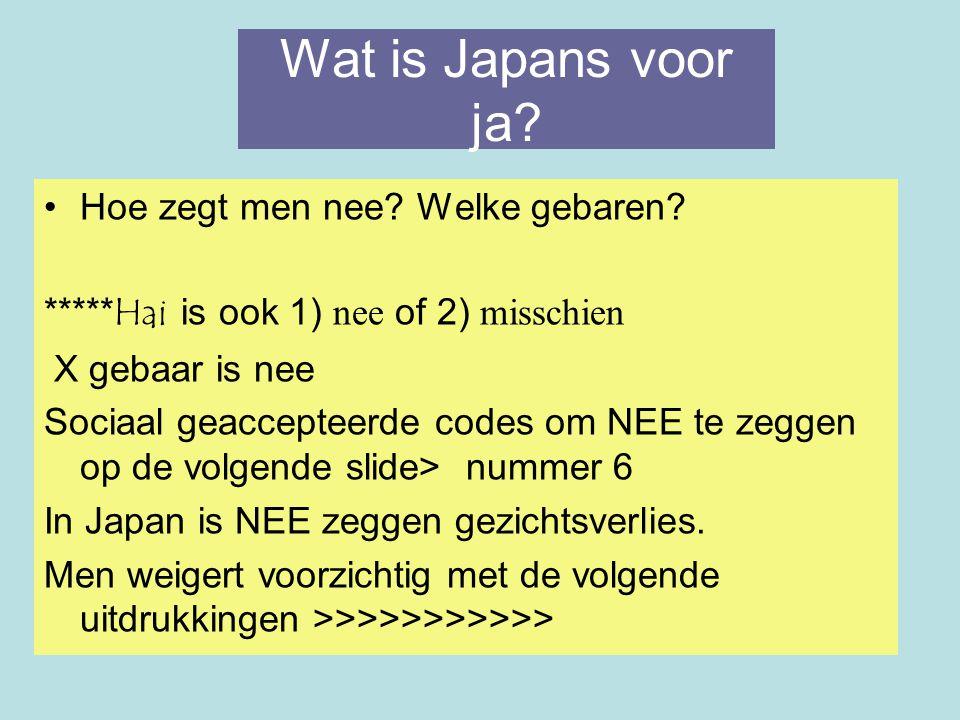 Wat is Japans voor ja Hoe zegt men nee Welke gebaren