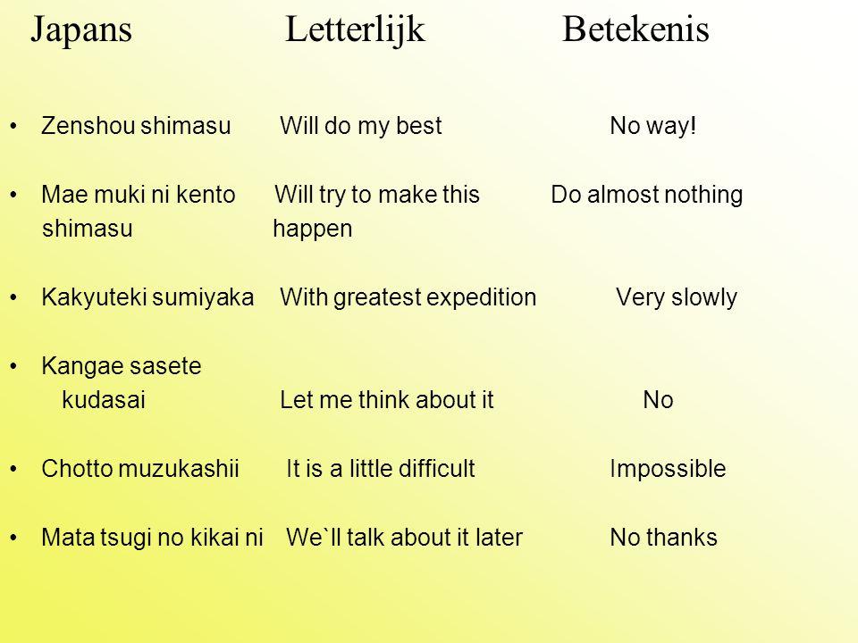 Japans Letterlijk Betekenis
