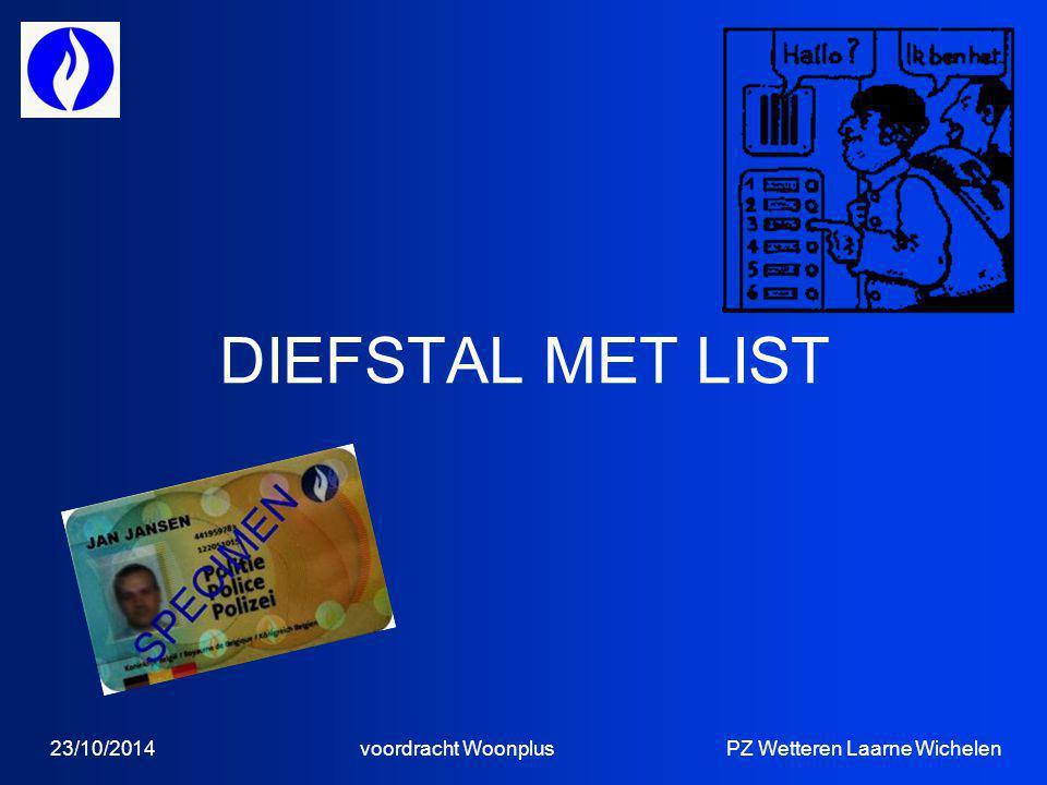 DIEFSTAL MET LIST 23/10/2014 voordracht Woonplus PZ Wetteren Laarne Wichelen.