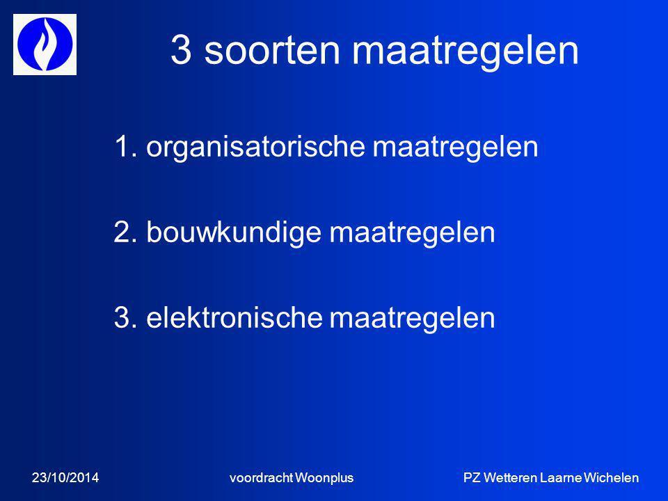 3 soorten maatregelen 1. organisatorische maatregelen