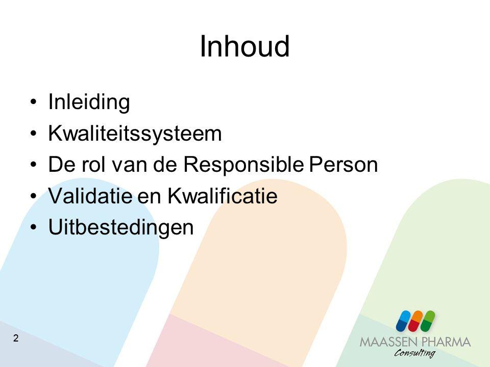 Inhoud Inleiding Kwaliteitssysteem De rol van de Responsible Person