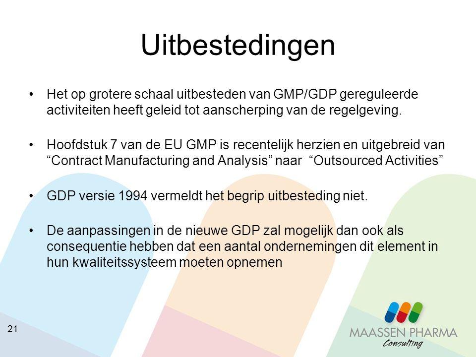 Uitbestedingen Het op grotere schaal uitbesteden van GMP/GDP gereguleerde activiteiten heeft geleid tot aanscherping van de regelgeving.
