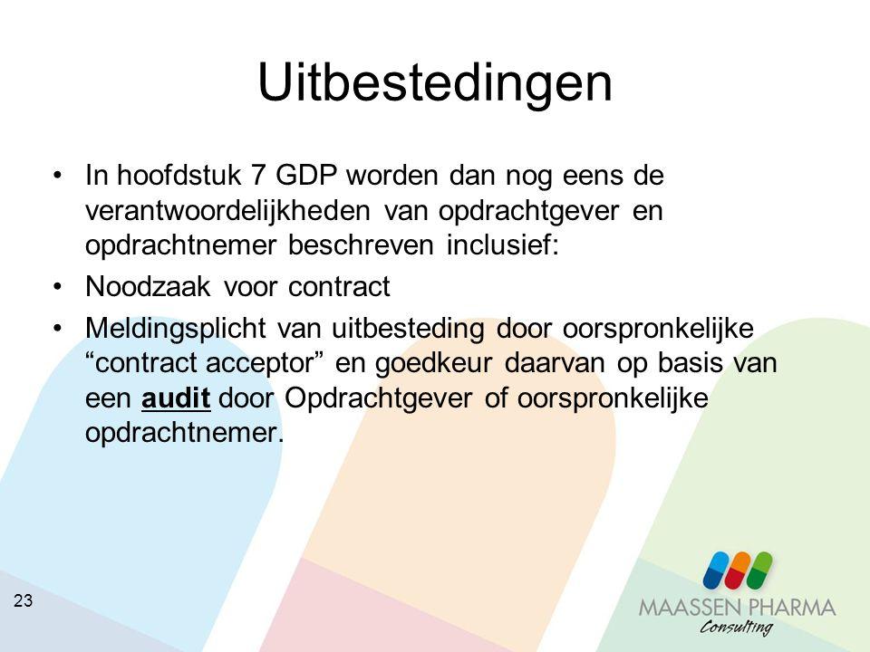 Uitbestedingen In hoofdstuk 7 GDP worden dan nog eens de verantwoordelijkheden van opdrachtgever en opdrachtnemer beschreven inclusief: