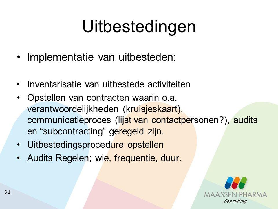 Uitbestedingen Implementatie van uitbesteden: