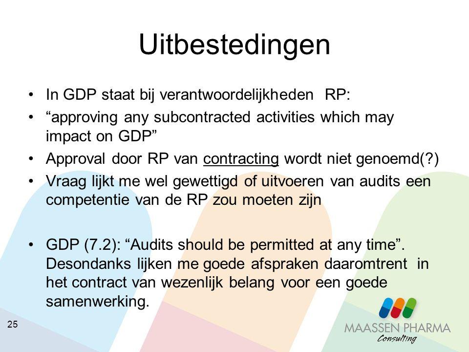 Uitbestedingen In GDP staat bij verantwoordelijkheden RP: