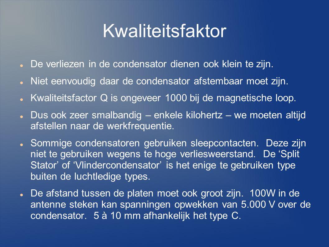 Kwaliteitsfaktor De verliezen in de condensator dienen ook klein te zijn. Niet eenvoudig daar de condensator afstembaar moet zijn.