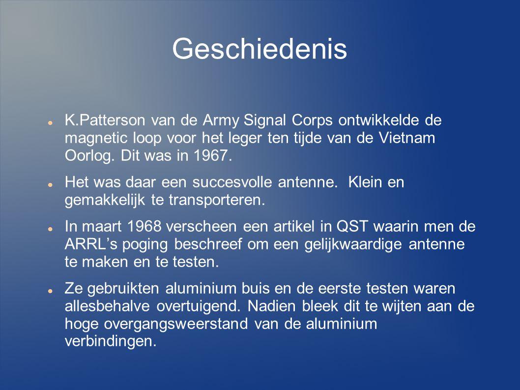 Geschiedenis K.Patterson van de Army Signal Corps ontwikkelde de magnetic loop voor het leger ten tijde van de Vietnam Oorlog. Dit was in 1967.