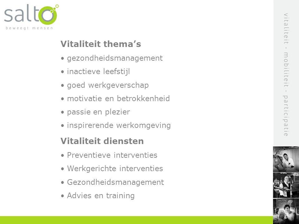 Vitaliteit thema's Vitaliteit diensten gezondheidsmanagement