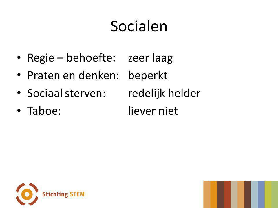 Socialen Regie – behoefte: zeer laag Praten en denken: beperkt