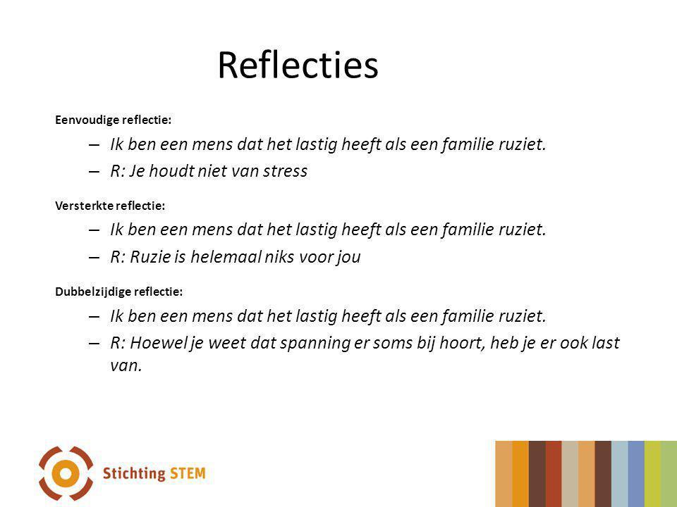 Reflecties Eenvoudige reflectie: Ik ben een mens dat het lastig heeft als een familie ruziet. R: Je houdt niet van stress.