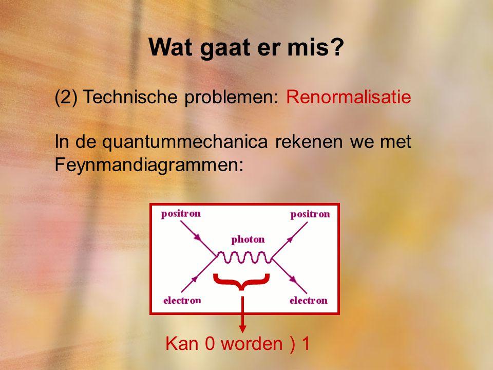 } Wat gaat er mis (2) Technische problemen: Renormalisatie
