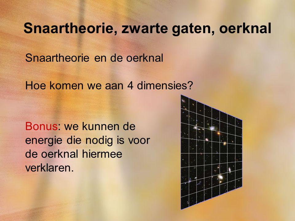 Snaartheorie, zwarte gaten, oerknal