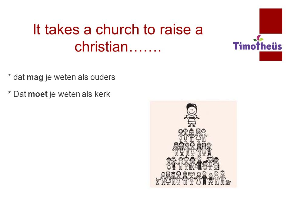 It takes a church to raise a christian…….