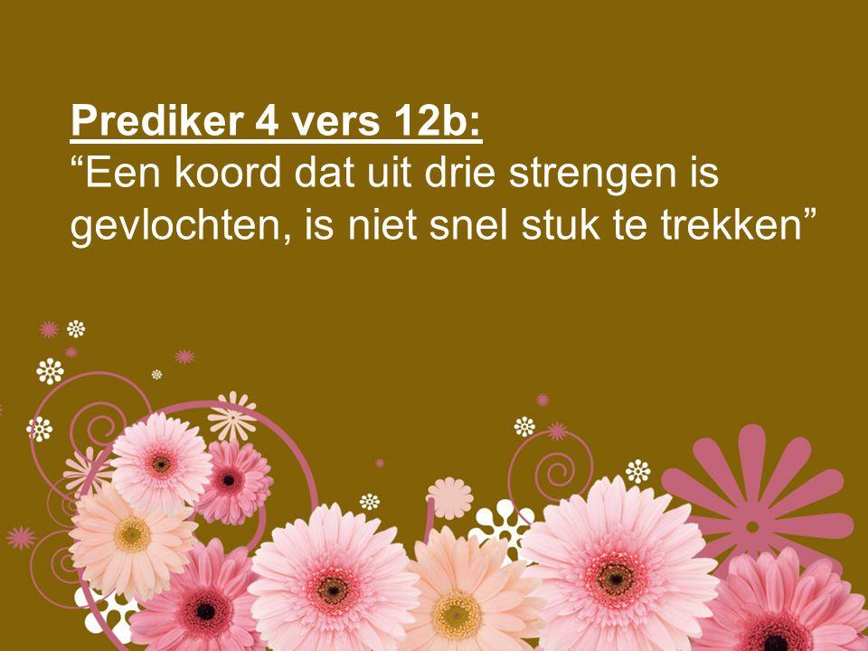 Prediker 4 vers 12b: Een koord dat uit drie strengen is gevlochten, is niet snel stuk te trekken