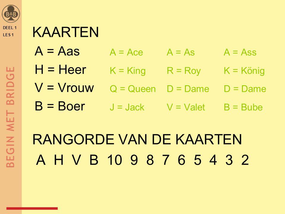 RANGORDE VAN DE KAARTEN A H V B 10 9 8 7 6 5 4 3 2