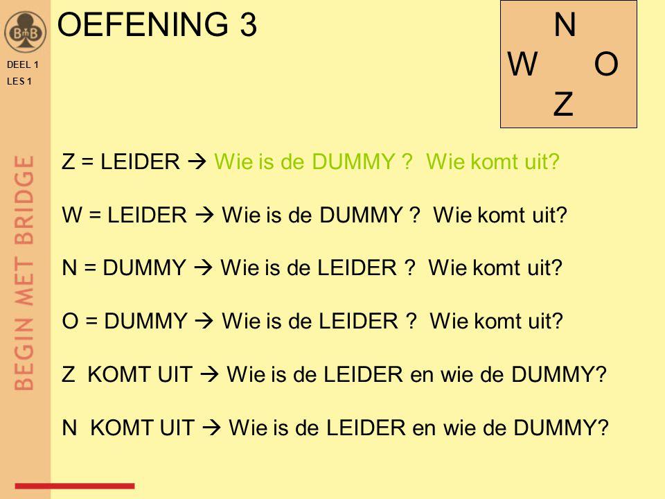 OEFENING 3 W O Z Z = LEIDER  Wie is de DUMMY Wie komt uit