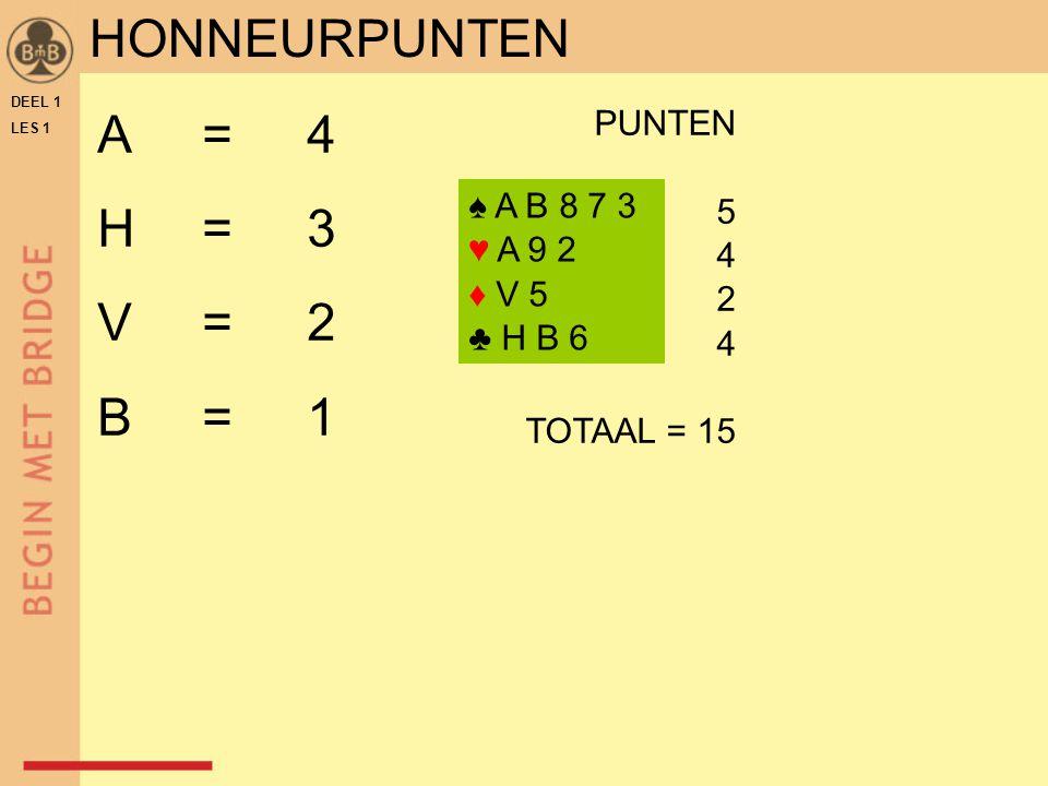 HONNEURPUNTEN A = 4 H = 3 V = 2 B = 1 PUNTEN 5 4 ♠ A B 8 7 3 2 ♥ A 9 2