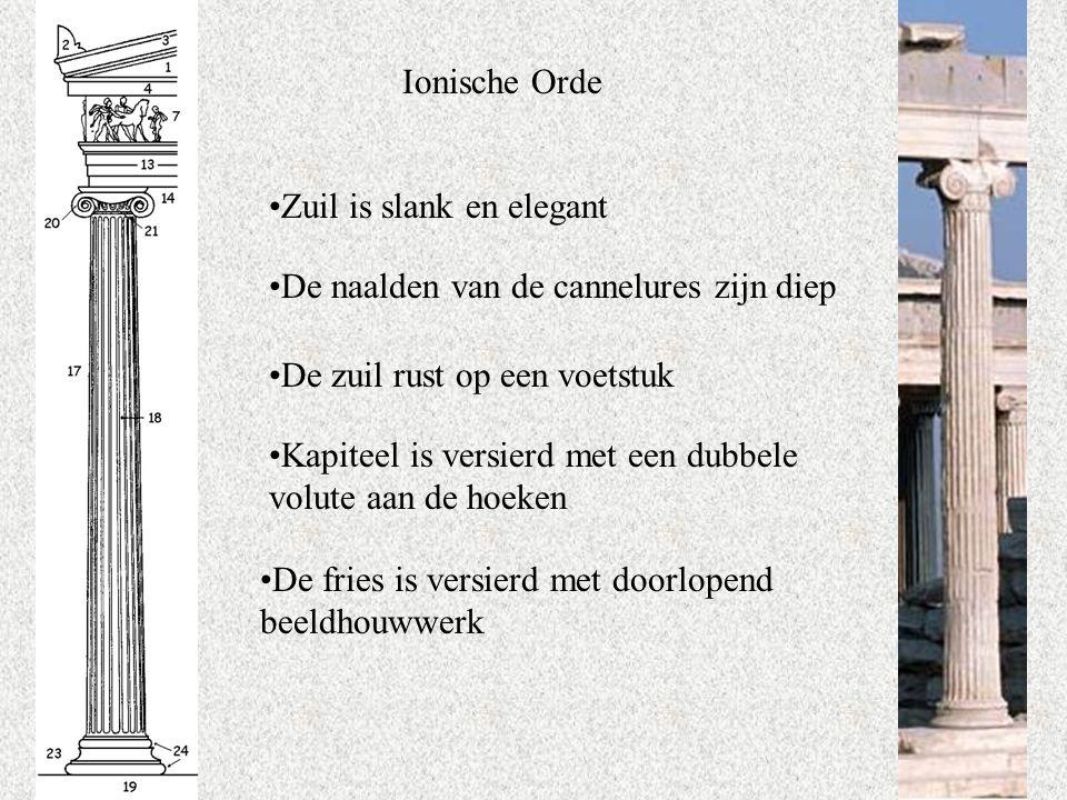 Ionische Orde Zuil is slank en elegant. De naalden van de cannelures zijn diep. De zuil rust op een voetstuk.