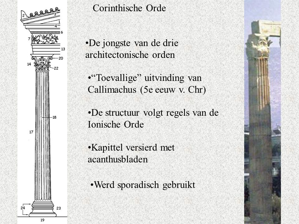 Corinthische Orde De jongste van de drie architectonische orden. Toevallige uitvinding van Callimachus (5e eeuw v. Chr)