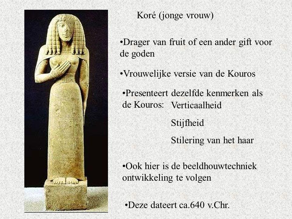 Koré (jonge vrouw) Drager van fruit of een ander gift voor de goden. Vrouwelijke versie van de Kouros.