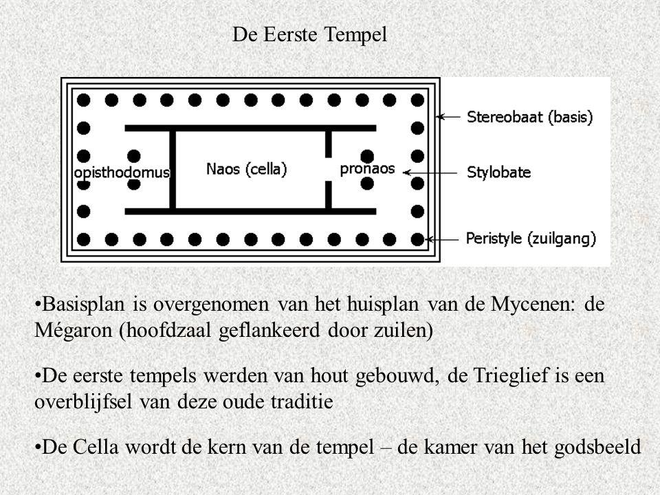 De Eerste Tempel Basisplan is overgenomen van het huisplan van de Mycenen: de Mégaron (hoofdzaal geflankeerd door zuilen)