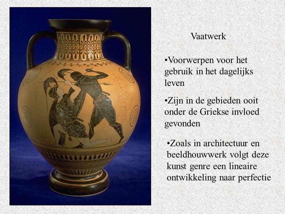 Vaatwerk Voorwerpen voor het gebruik in het dagelijks leven. Zijn in de gebieden ooit onder de Griekse invloed gevonden.