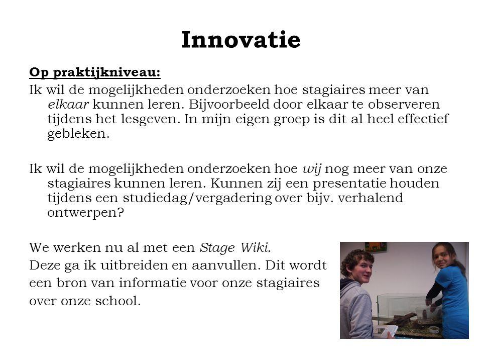 Innovatie Op praktijkniveau: