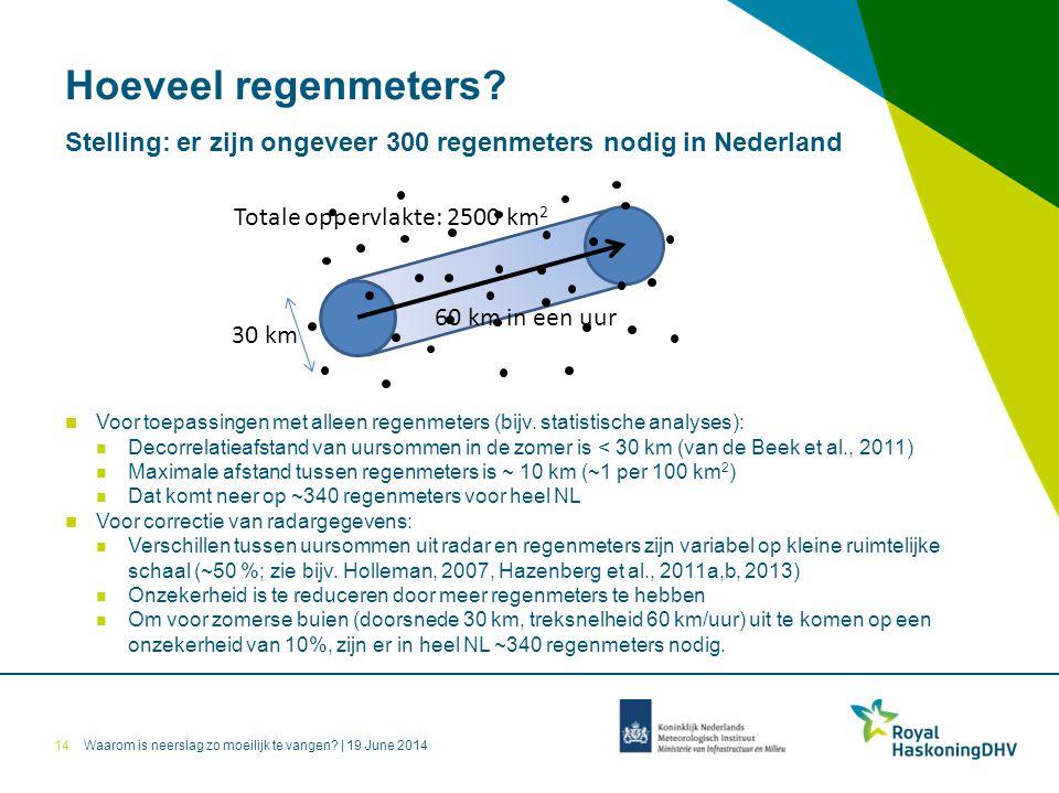 Hoeveel regenmeters Stelling: er zijn ongeveer 300 regenmeters nodig in Nederland. Totale oppervlakte: 2500 km2.